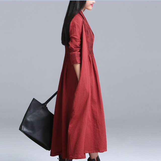 2017 Spring Cotton Linen Outerwear Open Stitch Long Plus Size Casual Women's Clothing Elegant Long Sleeve Trench Coat QS475