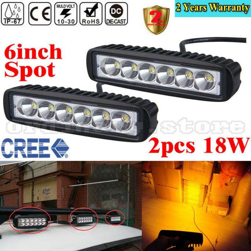 2pcs Super Bright Amber Work Fog Light 18W 6 LED Car Auto Truck Offroad SUV 4WD ATV Boat Bar Driving Night Spot Lamp Waterproof