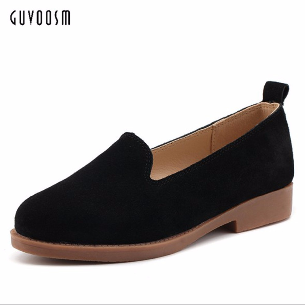 Guvoosm  Ladies Low Heels Pumps Women Black Khaki Casual Sapato Feminino Mujer Rubber British Shallow Shoes Woman Big Size 36-43 guvoosm ladies med heels pumps women black casual sapato feminino rubber slip on shoes woman round toe big small size 31 43