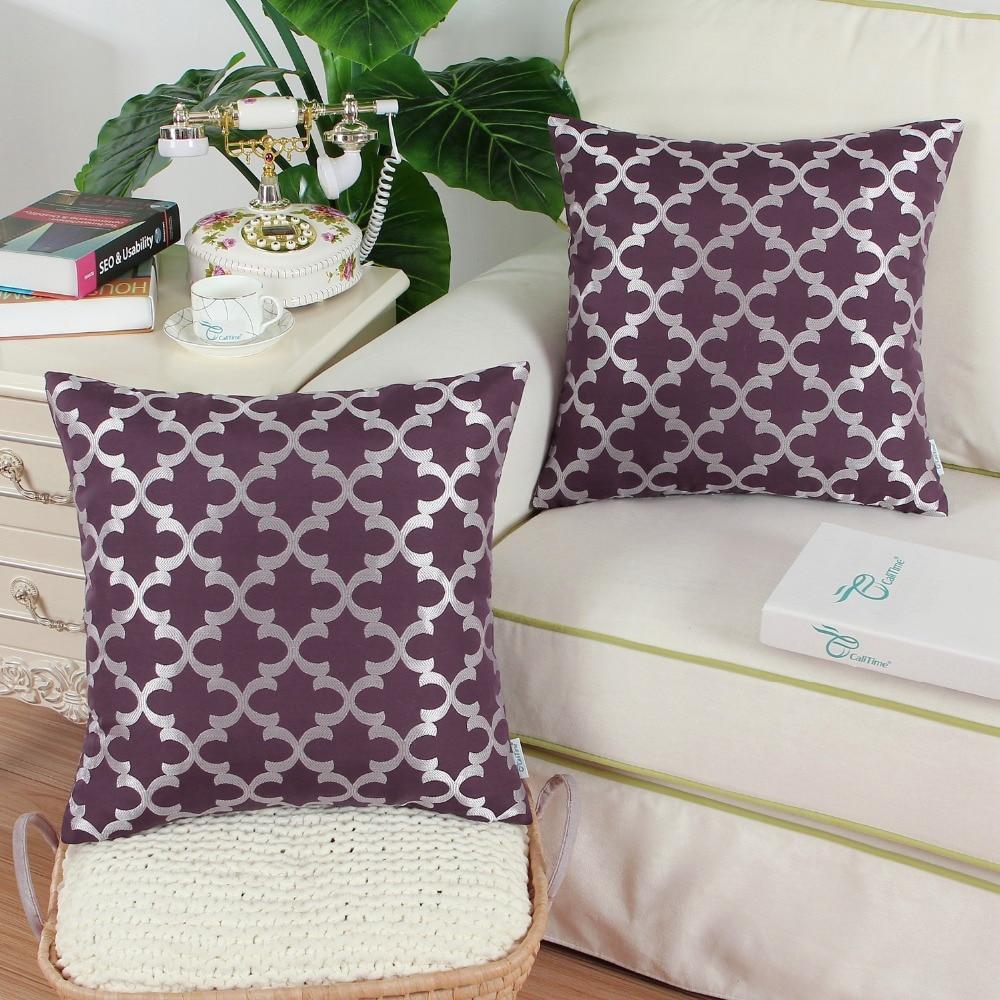 2PCS CaliTime Cushion Cover Pillows Shell Home Sofa Decor Bedding Texture Accent Geometric 18 X 18(45cm X 45cm) Eggplant