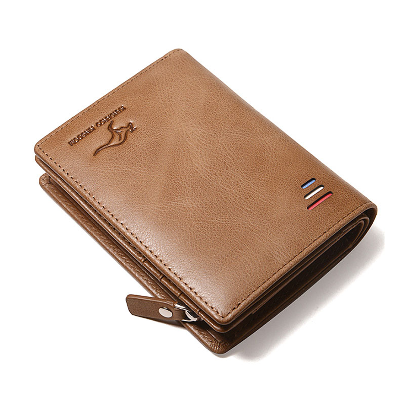 Kangourou KINGDOM célèbre marque de luxe vintage hommes portefeuilles véritable portefeuille en cuir à fermeture à glissière portefeuille porte cartes de crédit-in Portefeuilles from Baggages et sacs    2