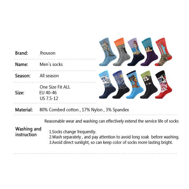 Jhouson 1 pair New Colorful Men's Combed Cotton Trendy Wedding Socks Funny Casual Crew Skateboard Socks Novelty Gifts 2