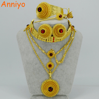 Ethiopian Jewelry Sets Pendant Chain Chokers Necklace Forehead Chain Earrings Bangle Hairpin Ring Habesha Wedding Sets