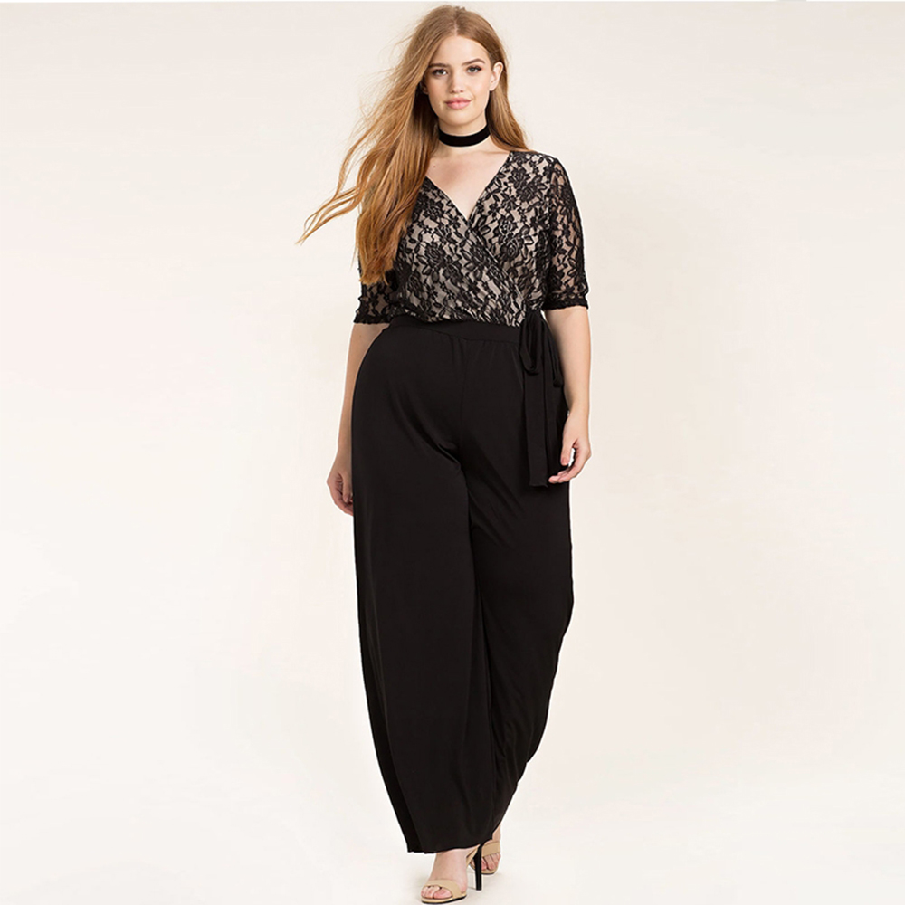 391aa5eb0ab Plus Size Fashion Women Clothing Casual Solid Sexy Lace Patchwork Pants  Slim Big Size Wide Leg Pants 3XL 4XL 5XL 6XL-in Jumpsuits from Women s  Clothing on ...