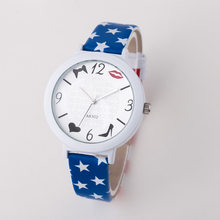 Fashion US Flag Star Kiss Shoe PU Leather Quartz Wrsit Watch Wristwatches for Women Men Male Unisex 5 Styles OP001(China)