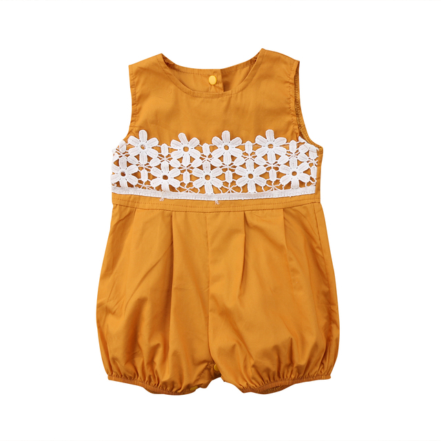 5b765f6f696 Infant Baby Girl Lace Floral Sleeveless Yellow Cotton Comfort Casual Romper  Playsuit Jumpsuit Outfits Sunsuit Clothes 0-24M