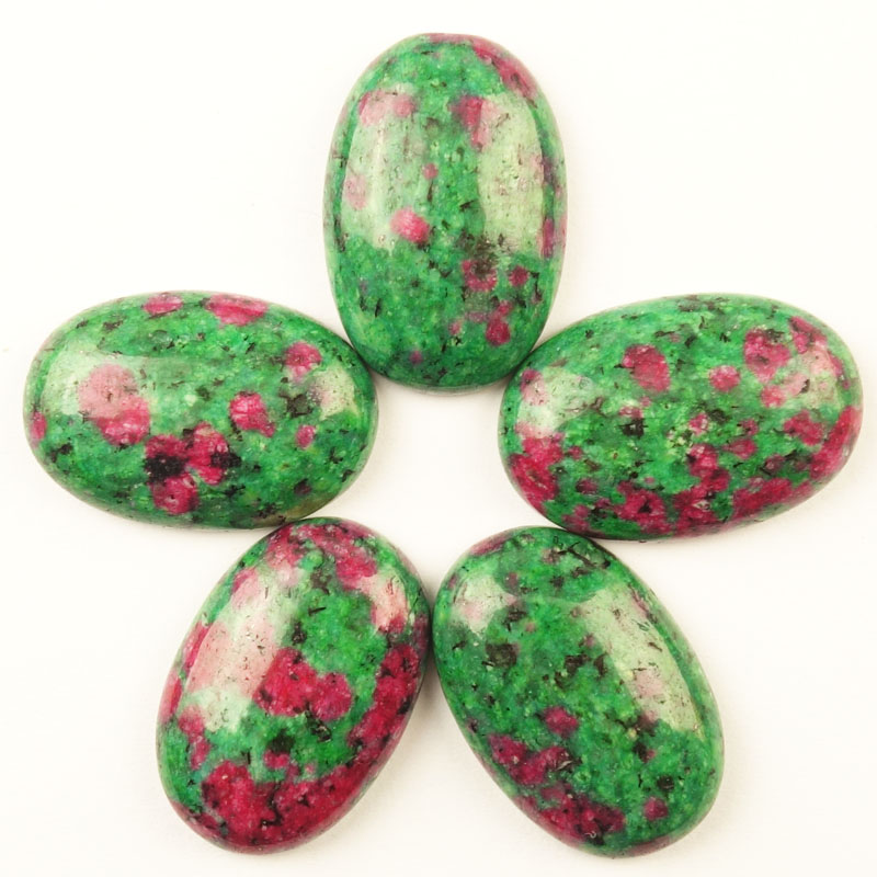 Beautiful 5Pcs 30x20x7mm Rubys in Fuchsite Oval Cab Cabochon Ca180429(Send Randomly)