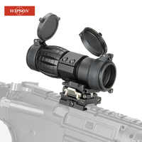 WIPSON Optic sight 3X Magnifier Scope Compact Hunting Riflescope Sights with Flip Up cover Fit for 20mm Rifle Gun Rail Mount