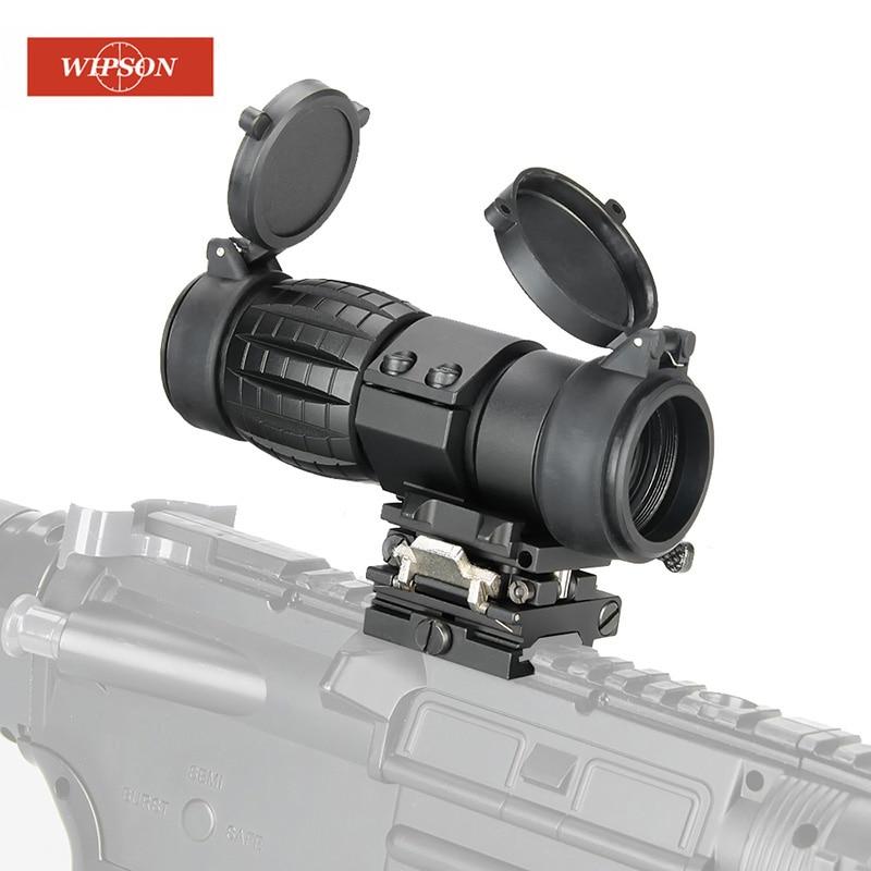 WIPSON celownik optyczny 3X lupa zakres kompaktowy polowanie luneta celownik z z unoszoną szybą pokrywa pasuje do 20mm karabin Rail Mount