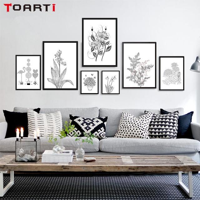 Nordic Blumen Pflanzen Leinwand Poster Und Print Schwarz Weiss
