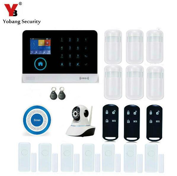 YobangSecurity WiFi GSM GPRS RFID Home Burglar Fire Alarm System Kit Wireless Siren IOS Android APP Control With WIFI IP Camera yobangsecurity gsm wifi burglar alarm system security home android ios app control wired siren pir door alarm sensor