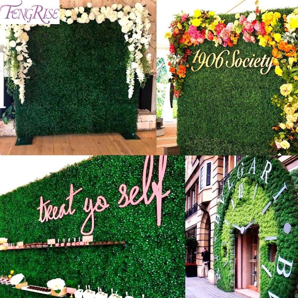 FENGRISE Green Flower Artificial Grass Backdrop Fake Moss