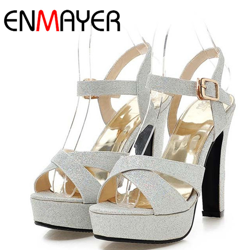ENMAYER Women Fashion Pumps Classic Sequins Buckle Toe Platform Shoes Round Toe Sexy Pumps 4Colors Thick High Heels Shoes Sale от Aliexpress INT