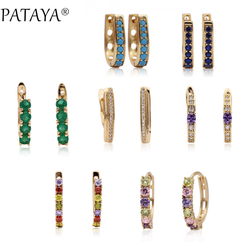 PATAYA New Arrivals 585 Rose Gold Multicolor Round Green Natural Zircon Dangle Earrings Women Wedding Jewelry Fine Cute Earring