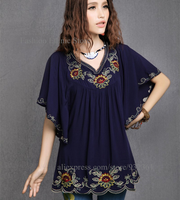 Vintage Mexican Embroidery boho Batwing Women Dress Loose Mini Dresses  Summer Dress 2016 Tunic Tops vestidos 13bba0032caf