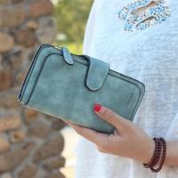 Hasp Women Wallet Long PU Leather Women Clutch Ladies Coin Purses Scrub Walet Money Bag Cartera