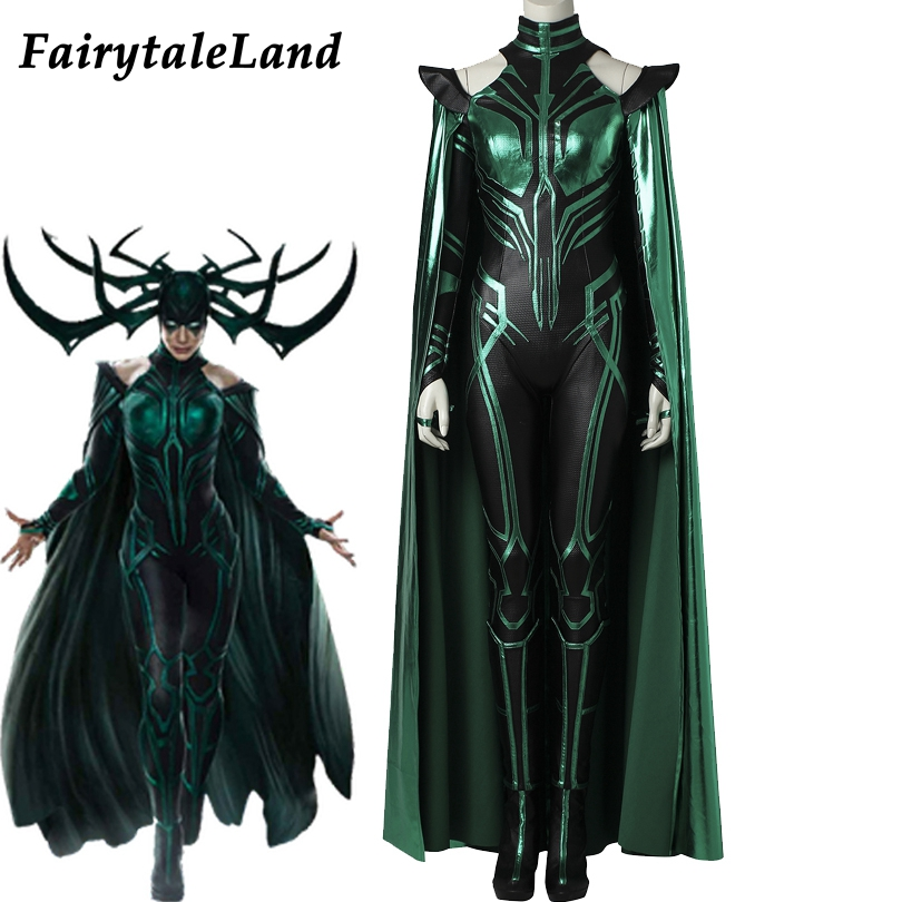 Hela Cosplay Costume Adult women Halloween Costumes Cosplay Thor Ragnarok   Hela Costume Custom made Jumpsuit Boots