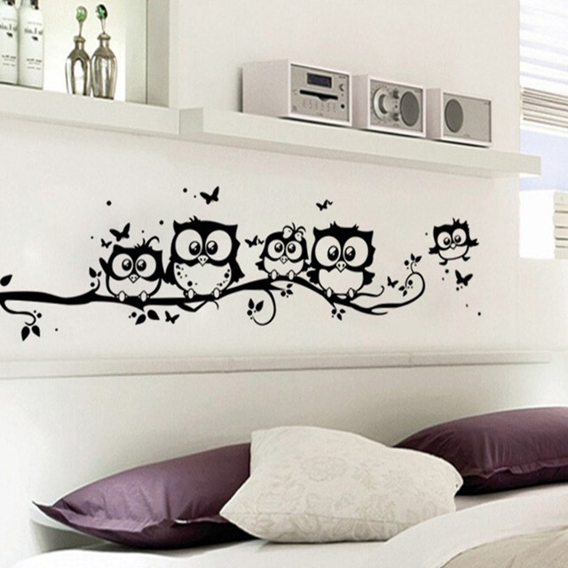 Owl Family Butterfly Tree Branch Removable Wall Sticker Home Kids Baby Nursery Bedroom Poster Cute Mural Decal