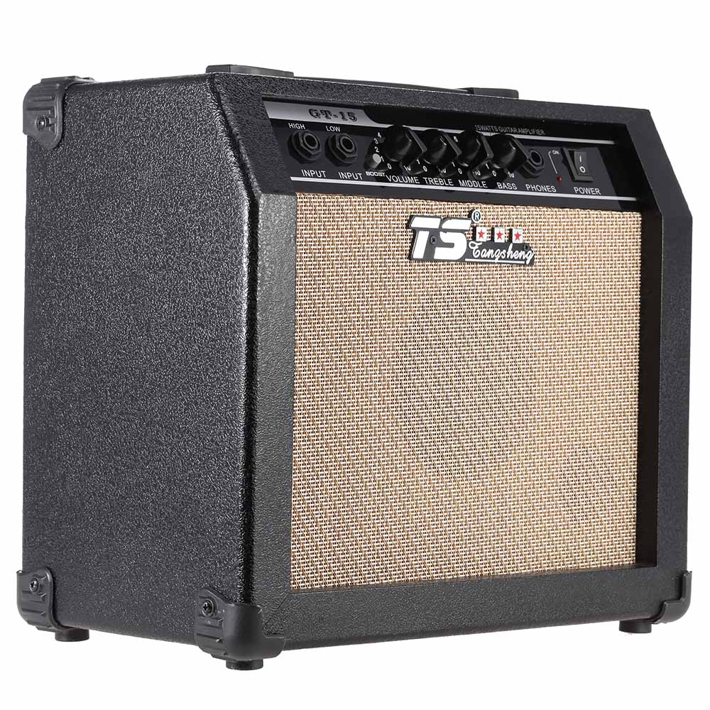 high quality gt 15 professional 3 band eq 2 channel electric guitar amplifier distortion amp 15w. Black Bedroom Furniture Sets. Home Design Ideas
