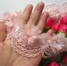 10x Pink Pearl Chiffon Flower Embroidered Lace Edge Trim Ribbon Floral Applique Fabric Handmade DIY Wedding Dress Sewing Craft(China)