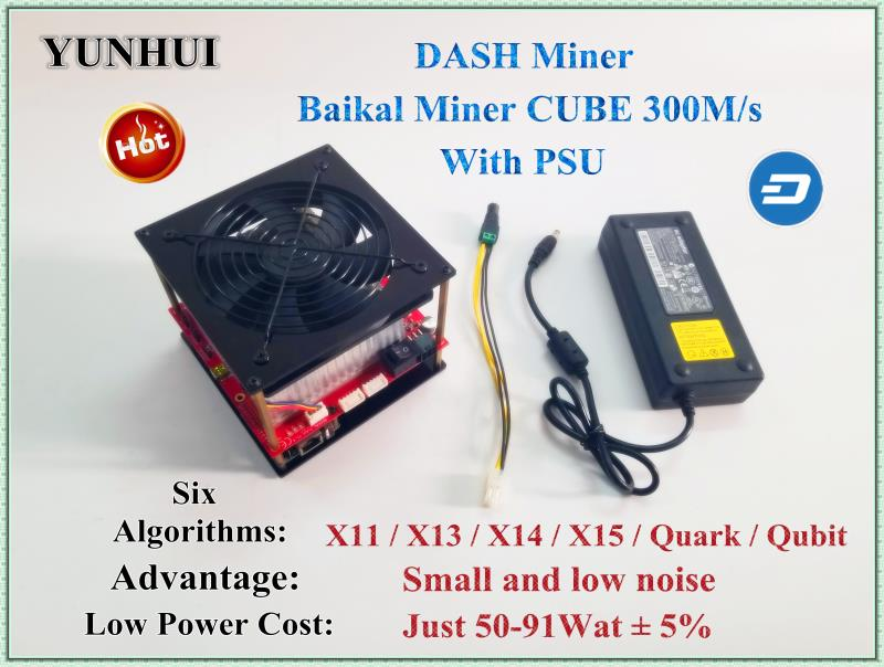 Baikal CUBE 300M/S (WITH PSU) DASH Miner Support 6 Algorithm Better Than Antminer D3 Baikal X11 Mini