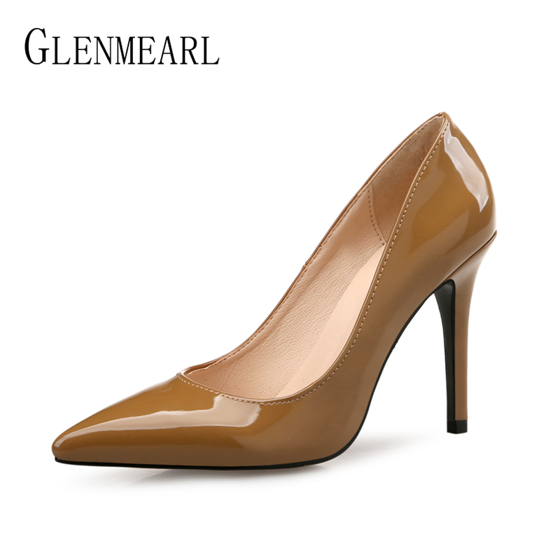Brand Shoes High Heels Women Pumps Genuine Leather Party Shoes Woman Pointed Toe Spring Autumn Plus Size Female Pumps Black Brow