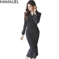 HAMALIEL 2018 Spring Women Party Dress High Quality Black Dot Chiffon Long Sleeve Female Bodycon V