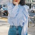 Zewo Azul Blanco A Rayas Camisa de Las Mujeres Blusas de Manga Larga Casual Ladies Tops de Algodón Dulce Orejas De Madera Blusa Mujer Blusas de Primavera nueva