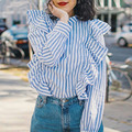 Zewo Blue White Striped Shirt Women Blouses Casual Long Sleeve Ladies Tops Cotton Sweet Wood Ears Blouse Femme Blusas Spring New