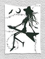 שטיח מוסיקה הערות בת קסום ליל כל הקדושים המכשפה עף על גיטרה חשמלית אמנותי איור תלוי על קיר לחדר שינה במעונות