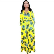 Dress Length:154cm Bust:106cm 2019 New Fashion dresses Bazin Print Dashiki Women Long Blouse