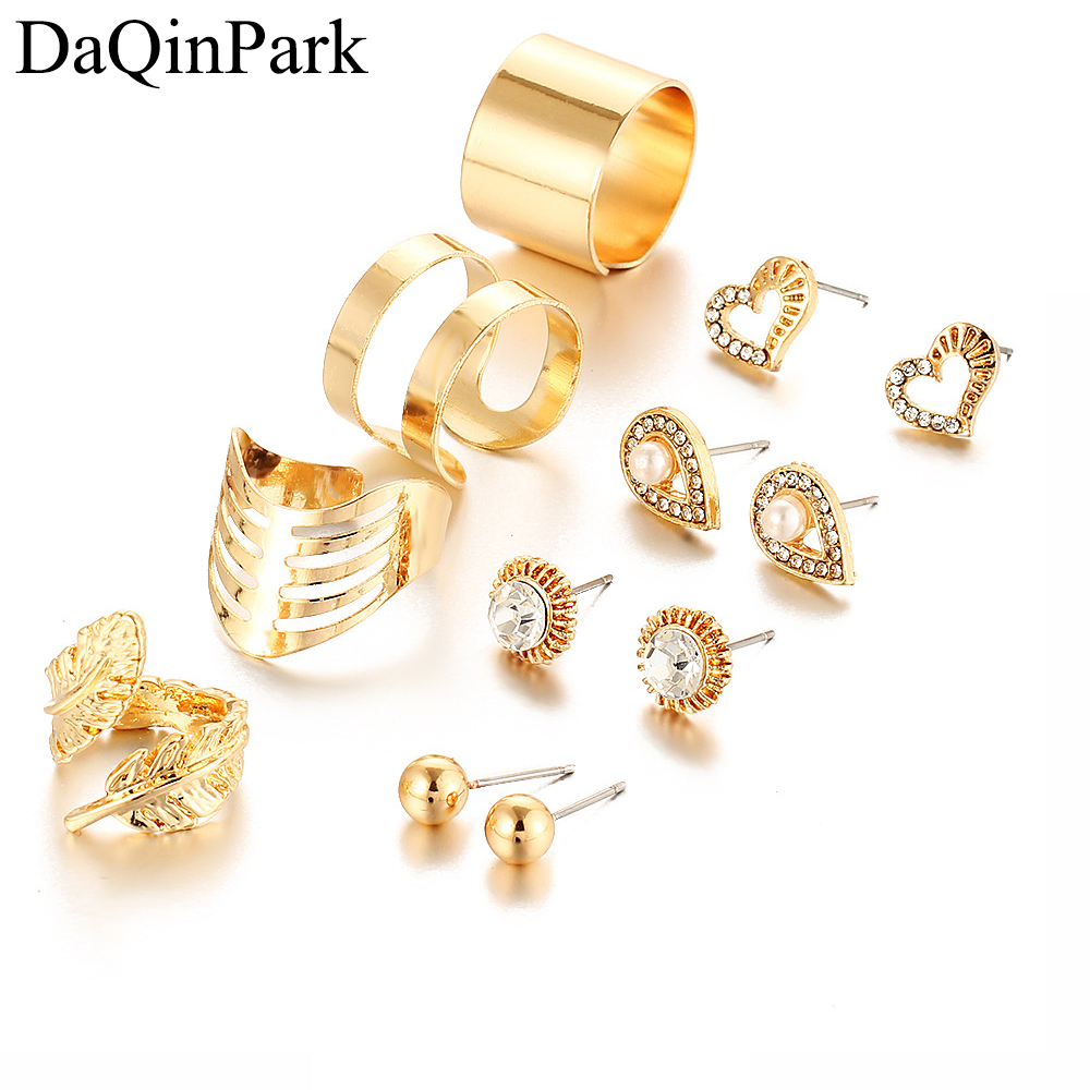 8 Pcs/ Set Fashion New Gold Color Crystal Heart Earrings for Women Silver Color Water Drop Leaf Rings Engagement Jewelry Set