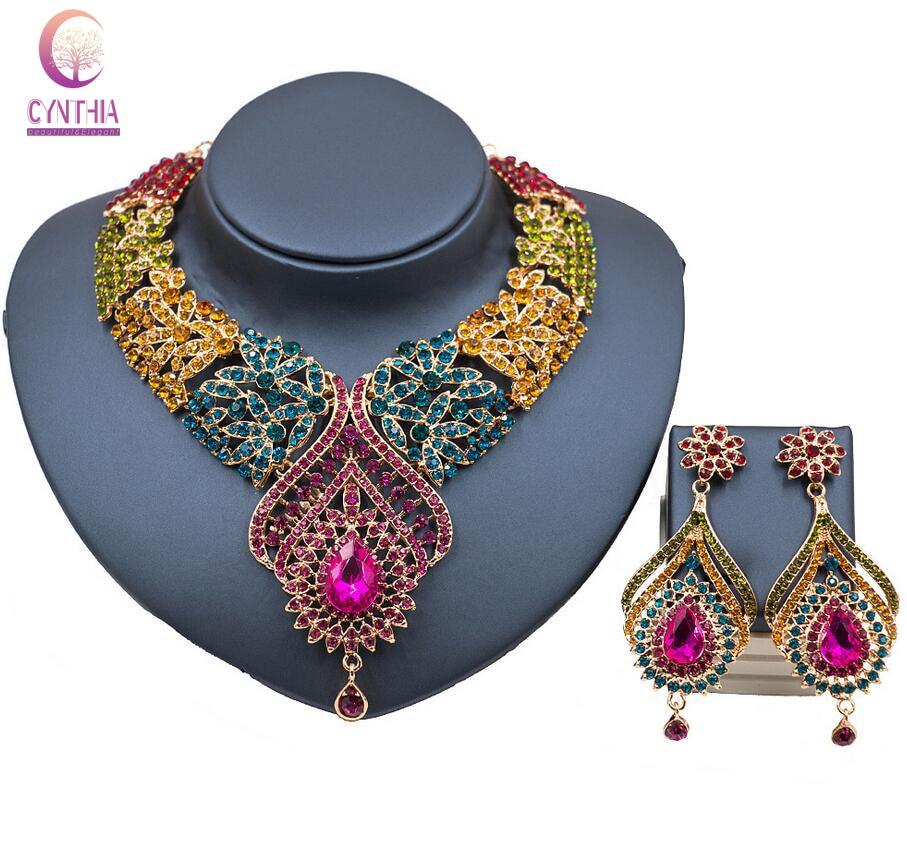 Lan palace Fashion Gold Color Nigerian Wedding African Beads Jewelry Set Crystal Saudi J ...