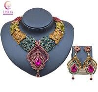 Lan Palace Fashion Gold Plated Nigerian Wedding African Beads Jewelry Set Crystal Saudi Jewelry Set Necklace