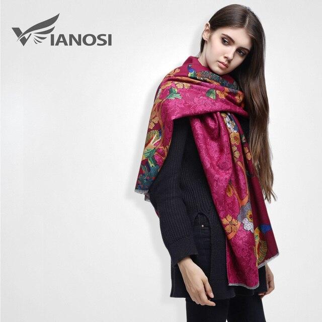 [VIANOSI] Luxury Scarf Women Phoenix Digital Printed Female Brand Winter Cashmere Shawl Scarves VS017