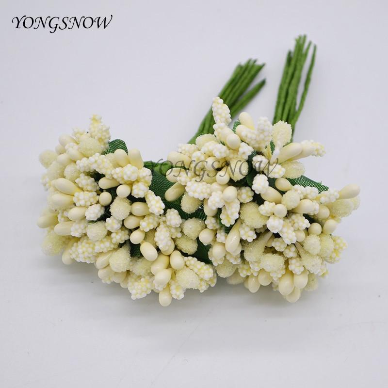 24pcslot Pistils Artificial Flowers Mulberry Stamen Beads Flower Diy Handmade Scrapbooking Wedding Party Decoration Supplies