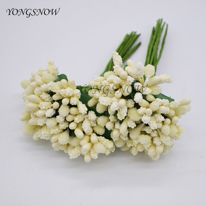 24pcs/lot Pistils Artificial Flowers Mulberry Stamen Beads Flower Diy Handmade Scrapbooking Wedding Party Decoration Supplies