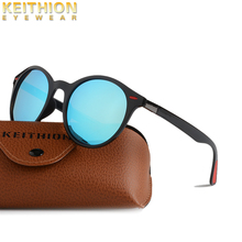 KEITHION 2019 New Polarized Mnes Womens Round Sunglasses Vintage Retro Mirrored Sun Glasses Brand Designer UV400 Eyewear