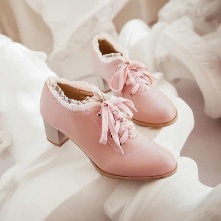 US4-11 Womens Trend Lace Cute Lolita Mary Janes Chunky Kitten Heel Lace Up Oxfords Wedding Shoes Sweet Plus Size A97