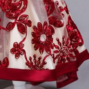 Image 5 - Baby Meisjes Jurk Van Bloem Meisje Jurk Voor Meisjes Kleding Prinses Wijn Rode Trouwjurk Trailing Kinderen Kids Party Dress
