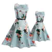 2017 Fashion Summer Vintage Mother And Daughter Dresses Teenage Dress Girls Clothing Family Matching Outfits Mae