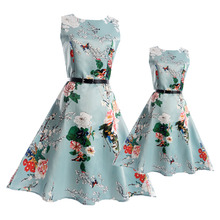 2017 Fashion Summer Vintage Mother and Daughter Dresses Teenage Dress Girls Clothing Family Matching Outfits Mae e Filha Vestido