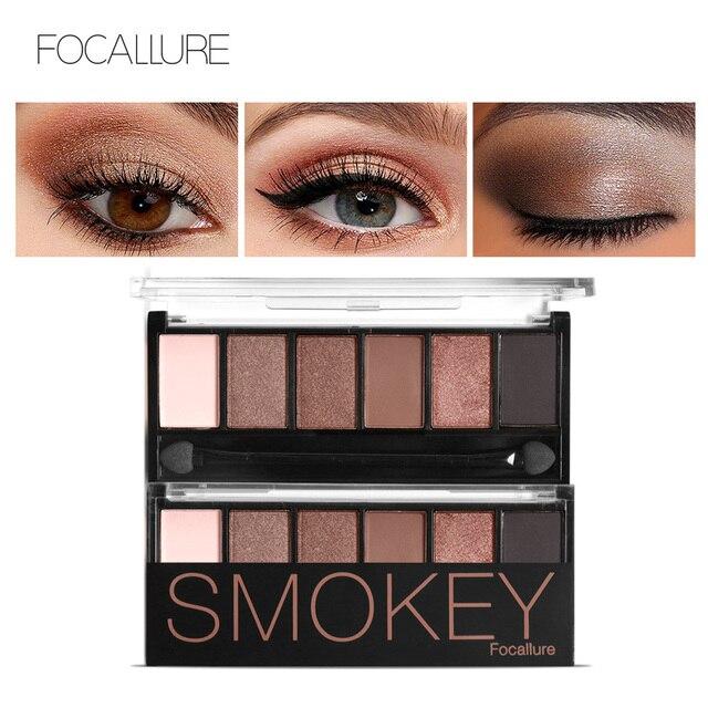FOCALLURE 6 цветов палитры теней гламурный Smokey Eye Shadow Shimmer Цвета макияж комплект по Focallure