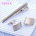 VAGULA Stylish Silver Cufflinks Tie Clip Set Tie Bar Super Quality Cuff Links Tie Pin Set 49
