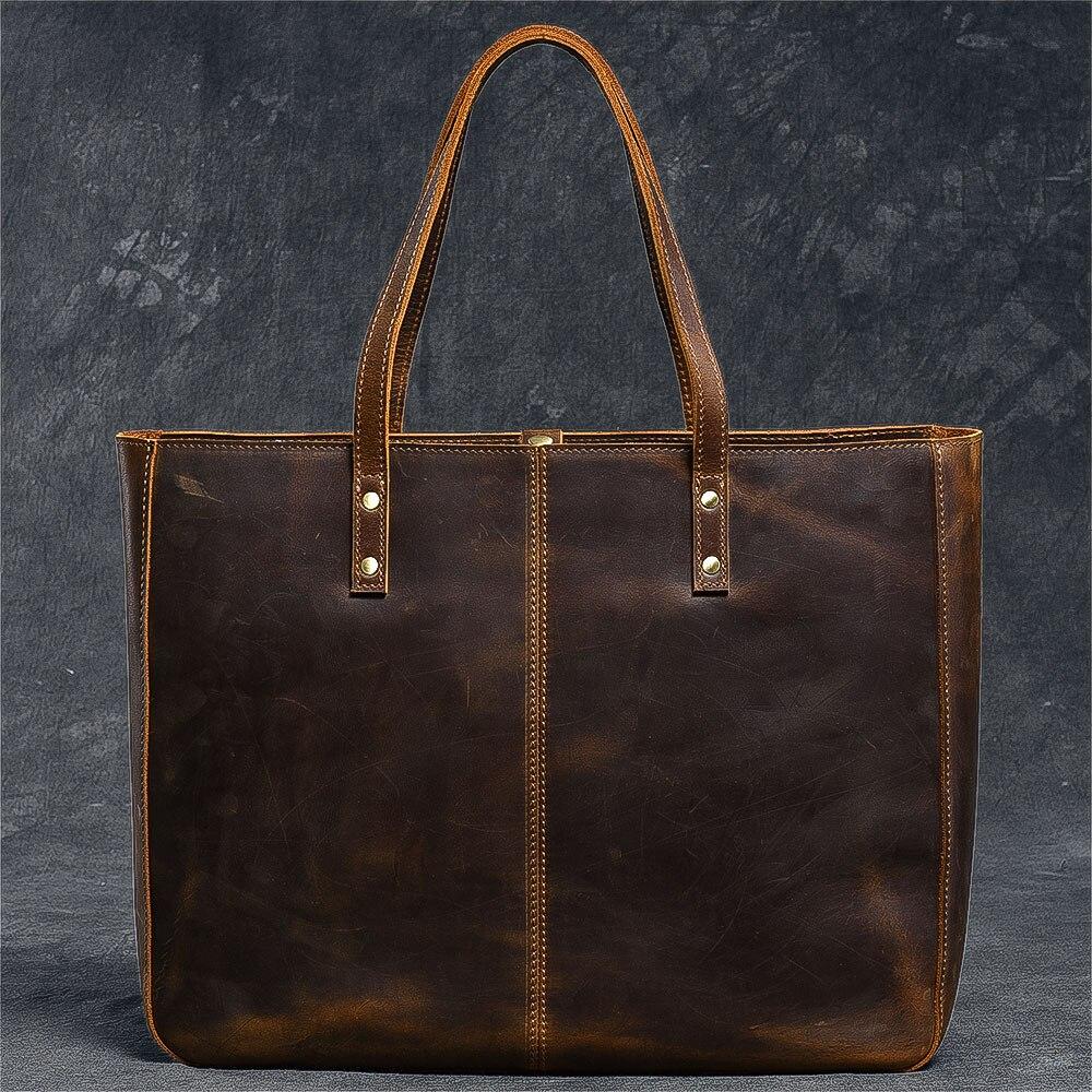 Vintage handgemaakte crazy horse lederen Vrouwen handtas doorsnede grote capaciteit 14 Laptop tote tas mannen en vrouwen schoudertassen - 2