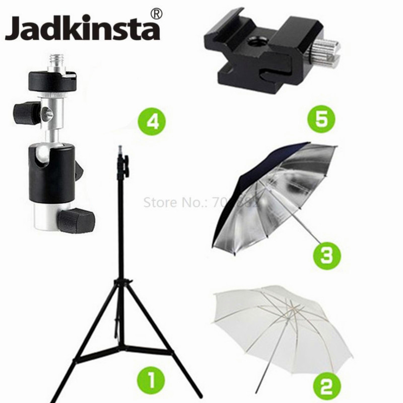 5in1 Studio Photography Kit Light Stand Tripod Swivel Flash Bracket 33 inch Soft and Reflective Umbrella