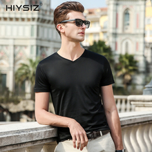 HIYSIZ NEW Men T-Shirt 2019 Tops Silk V-Neck T Shirt Soft Streetwear Solid Popular Casual Short Sleeves Shirts For Summer ST024 snap fastener embellished color spliced v neck short sleeves t shirt for men