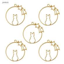 5Pcs Sitting Cat Resin Frames Open Bezels Setting Blank Pendant DIY Jewelry Making accessories(China)