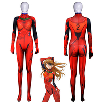 Anime Asuka Langley Soryu Jumpsuits Cosplay Costume Neon Genesis Evangelion Unisex One Piece Fullbody Zentai Suit Bodysuit