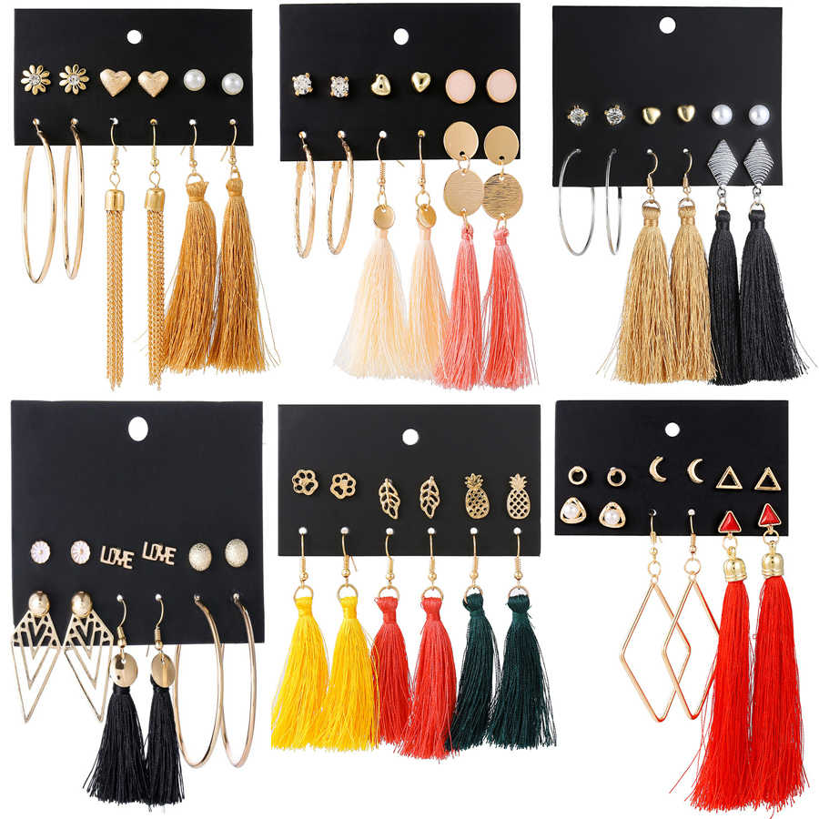 HOMOD New Fashion Long Tassel Drop Earrings Set For Women Girl Bohemian Geometric Earring Summer Brincos Female Jewelry